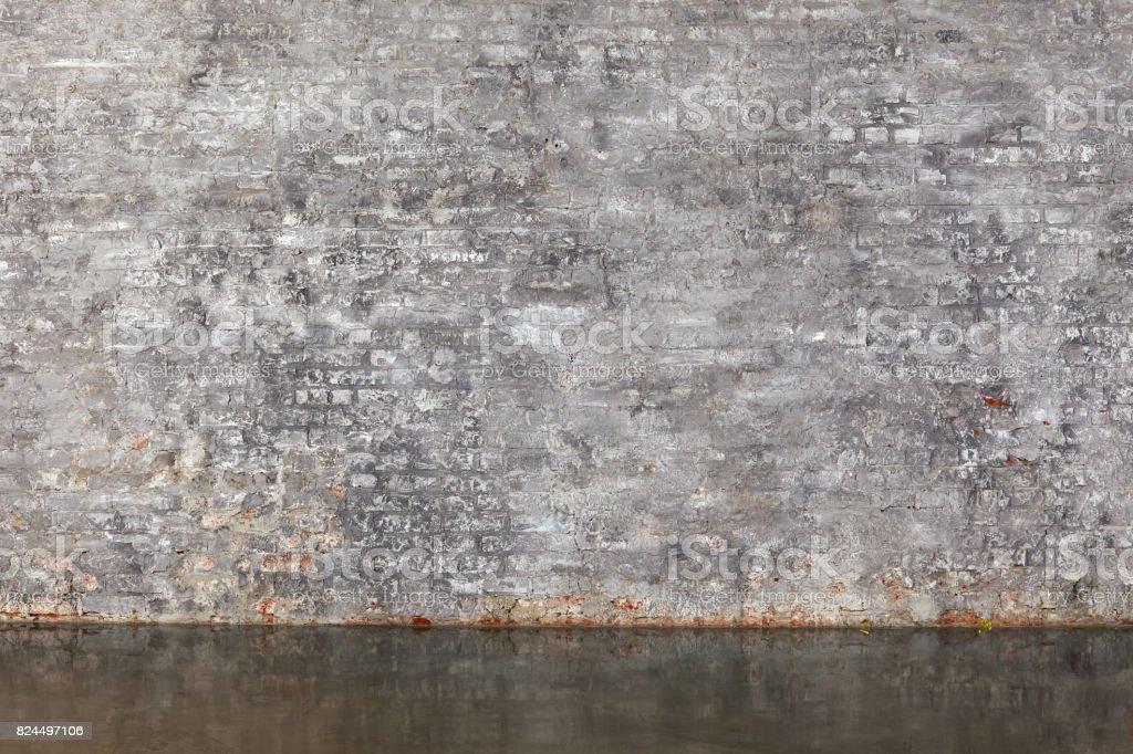 The gray brick wall stock photo