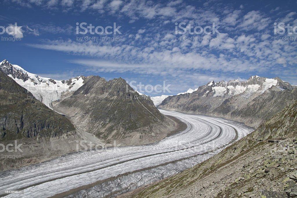 The Great Aletsch Glacier, Wallis, Switzerland royalty-free stock photo