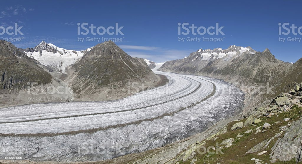 The Great Aletsch Glacier, Wallis, Switzerland royalty-free stock photo
