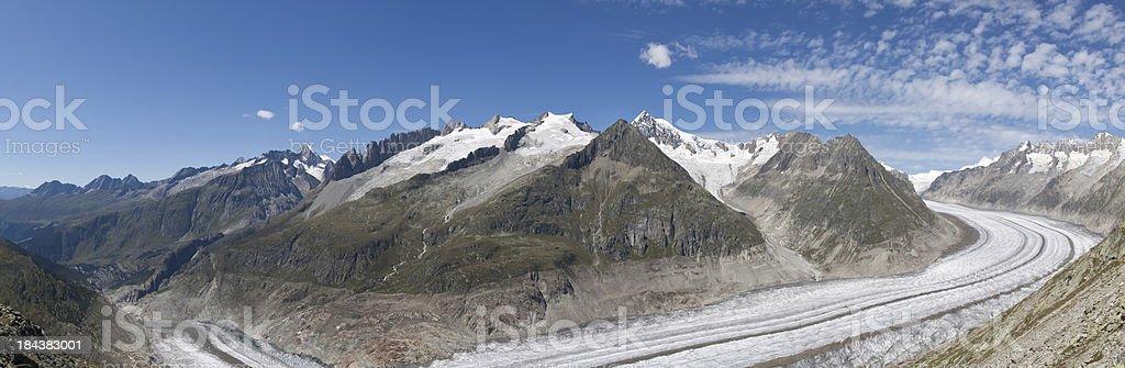 The Great Aletsch Glacier, Wallis, Switzerland wide panorama stock photo
