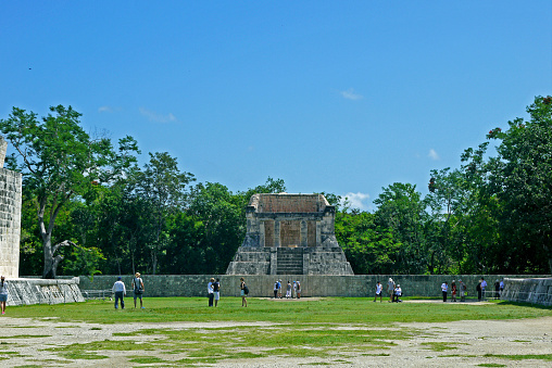 The great ball game court (juego de pelota) at Chichen Itza - Yucatan, Mexico.