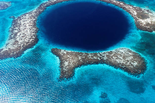 the great blue hole of belize stock photo