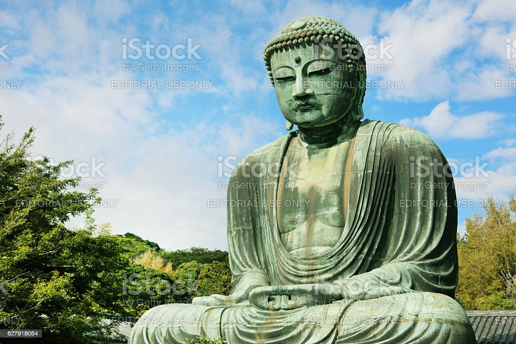 The Great Buddha of Kamakura (Kamakura Daibutsu) stock photo