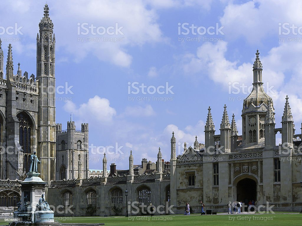 The Great Court at Trinity College. Cambridge. England royalty-free stock photo
