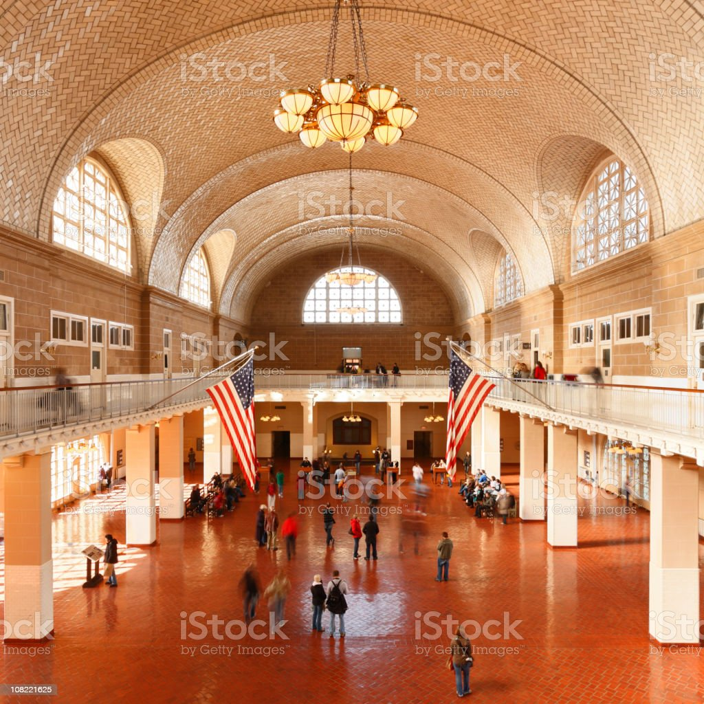 The Great Hall at Ellis Island in New York City stock photo