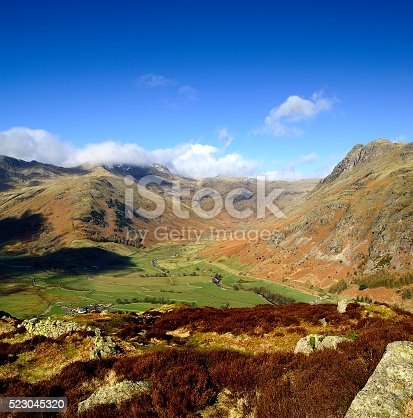 The Great Langdale valley and fells from Side Pike