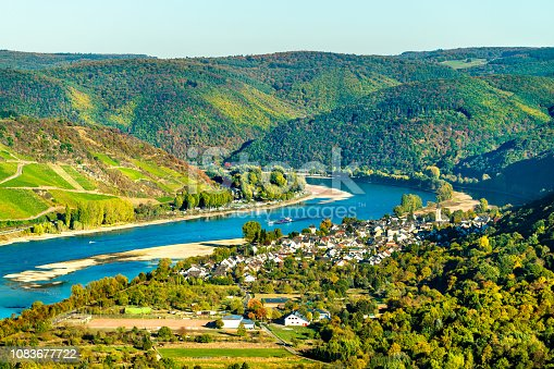 The great loop of the Rhine river at Boppard in Germany
