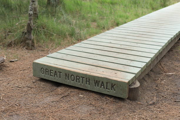 The Great North Walk Path Sign stock photo