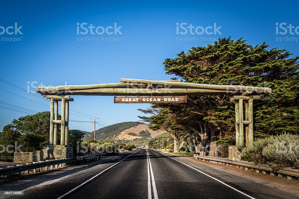 The Great Ocean Road sign, Victoria, Australia stock photo