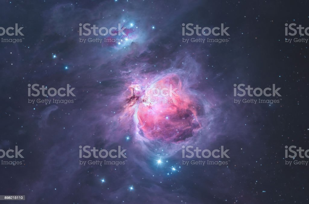 The Great Orion nebula in the constellation Orion / the hunter stock photo