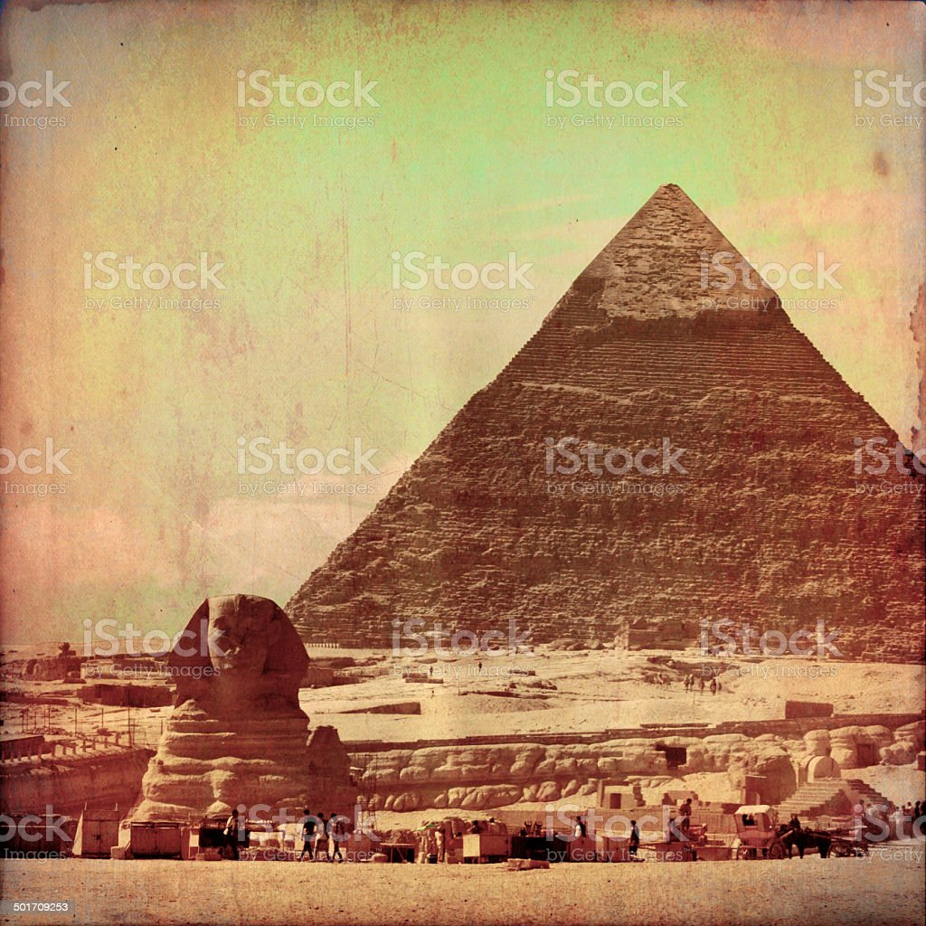 The great pyramid and sphinx in grunge effect stock photo