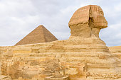 Great pyramid of Cheops and Sphinx in Giza plateau. Cairo, Egypt