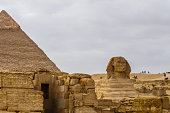 Great pyramid of Khafre and Sphinx in Giza plateau. Cairo, Egypt