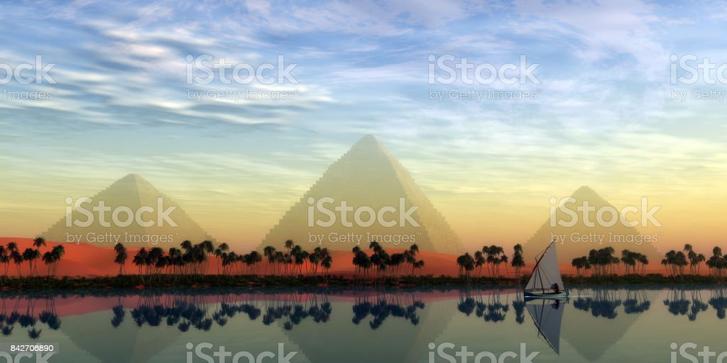 The Great Pyramids and Nile River stock photo