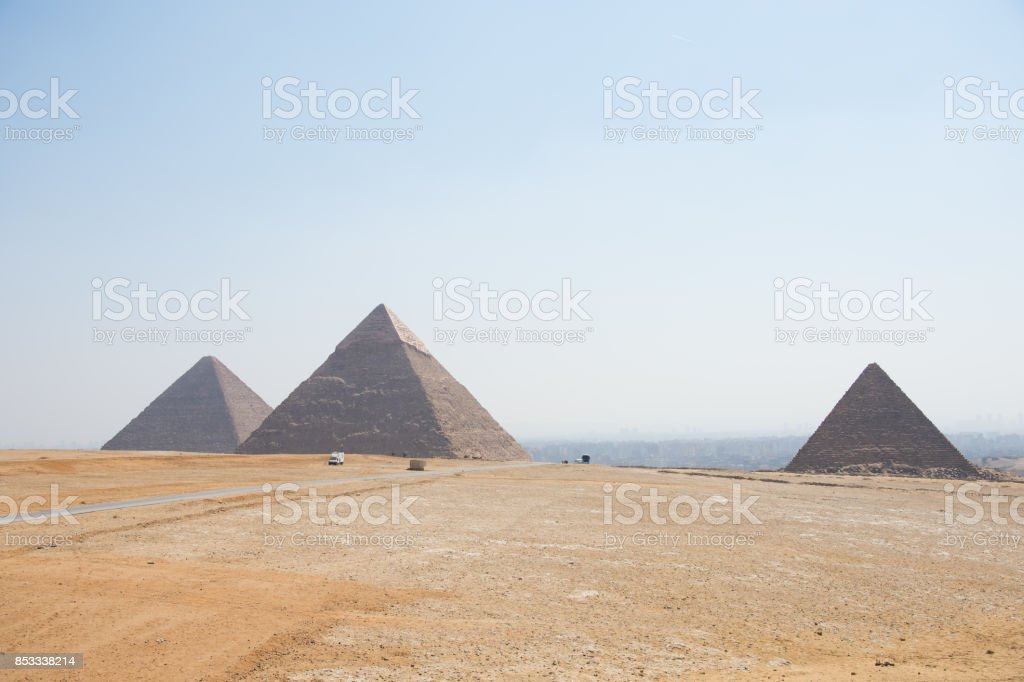 the Great Pyramids of Giza stock photo