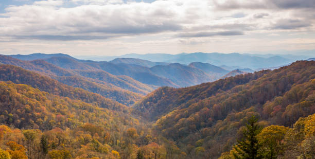 The Great Smoky Mountains Autumn colors in the Great Smoky Mountains pigeon forge stock pictures, royalty-free photos & images