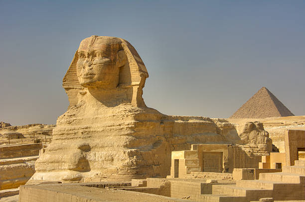 The Great Sphinx and pyramids of Giza, Egypt stock photo