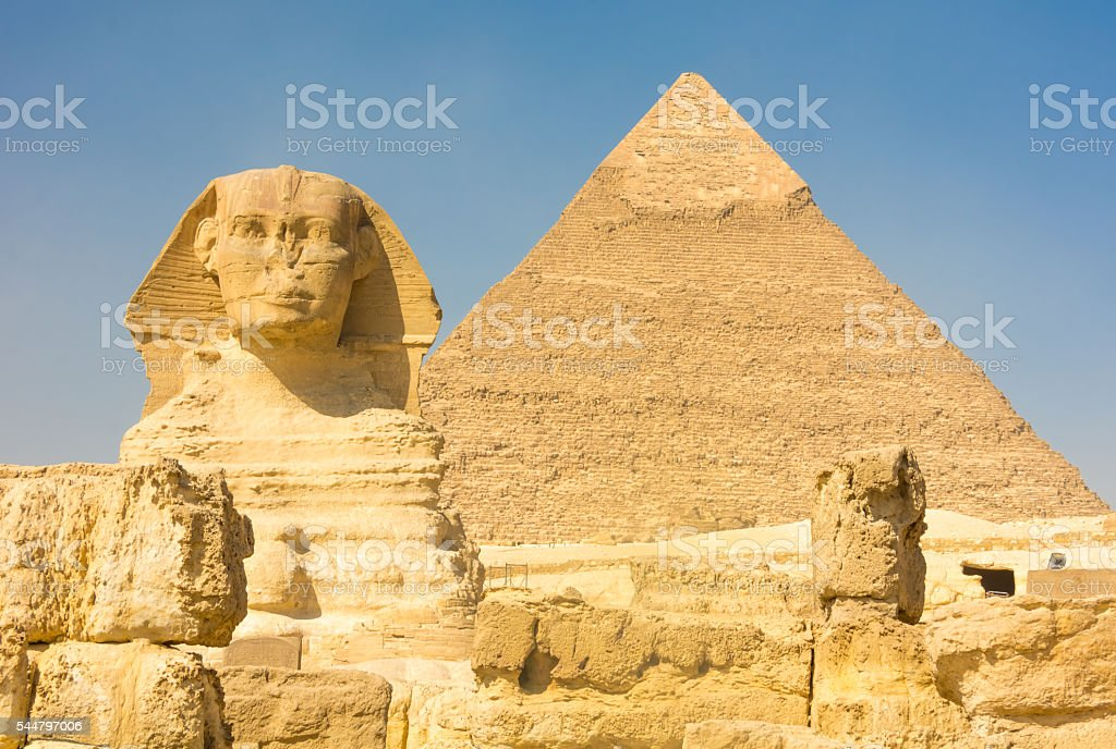 The Great Sphinx and the Pyramid of Kufu, Giza, Egypt stock photo