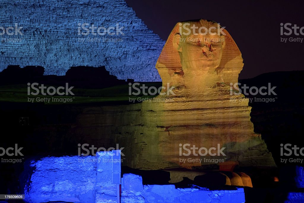 The Great Sphinx at Night - Giza Plateau of Egypt royalty-free stock photo