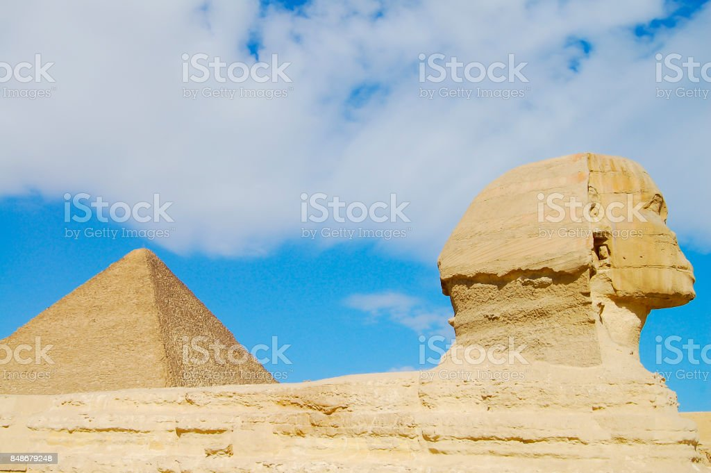 The Great Sphinx & Khufu Pyramid - Cairo stock photo