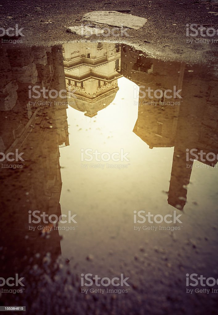 The Great Synagogue of Rome Mirrored in Water stock photo