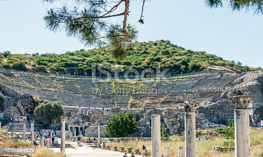 The Great Theater of Ephesus (Epheusus Coliseum) is located on the slope of Panayir Hill, opposite the Harbor Street, and will be in view as you enter Ephesus  from the south.