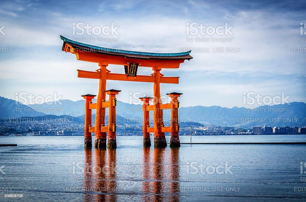 The Great Torii of Itsukushima shrine stock photo