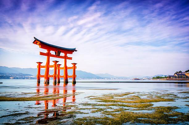 The Great Torii of Itsukushima shrine MIYAJIMA,JAPAN - April 7,2014 : The great Torii is the boundary between the spirit and the human worlds. itsukushima shrine stock pictures, royalty-free photos & images