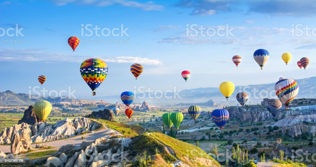 The great tourist attraction of Cappadocia - balloon flight. Cappadocia is known around the world as one of the best places to fly with hot air balloons. Goreme, Cappadocia, Turkey stock photo