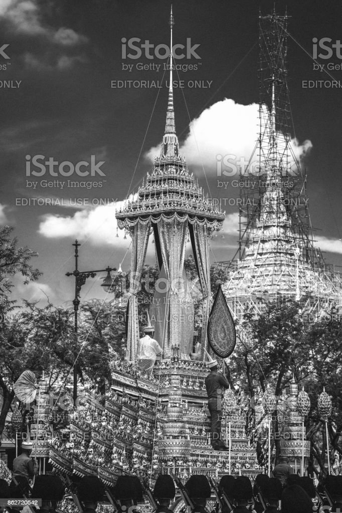 The Great Victory Royal Chariot or Phra Maha Phichai Ratcharot, that will be used to carry the royal urn of the late Thai King Bhumibol Adulyadej, in the area of the Grand Palace. stock photo