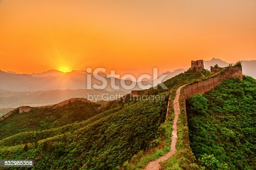 Jinshanling, a section of the Great Wall of China located in the mountainous area in Luanping County, 125 km northeast of Beijing, China.