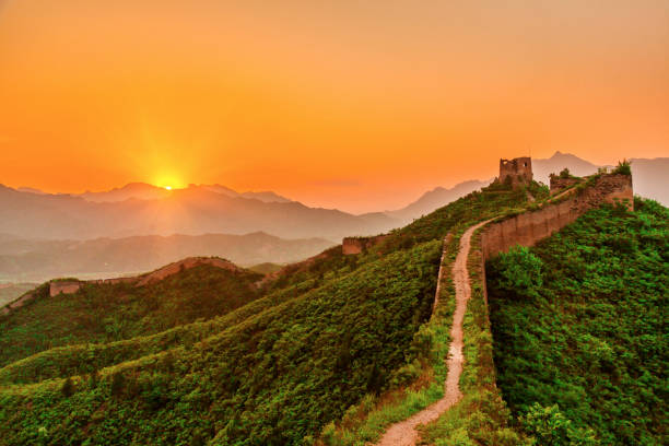 The Great Wall at sunset, Beijing, China stock photo