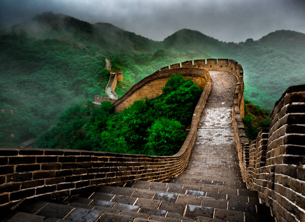 the great wall badaling section with clouds and mist, beijing, china - destination stock pictures, royalty-free photos & images