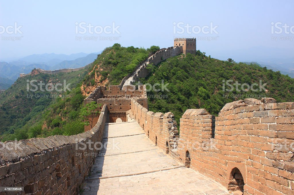 The Great Wall in summer, Jinshanling, China stock photo