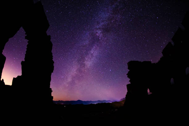 The Great Wall is under the stars, the beautiful Milky Way is in the sky stock photo