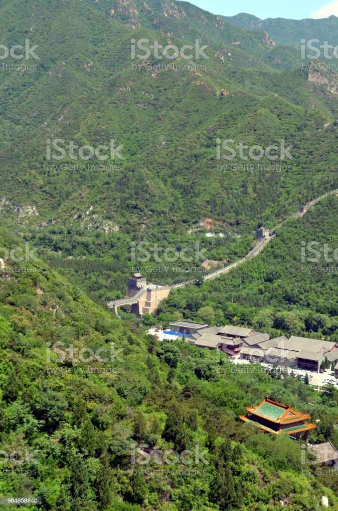The Great Wall of China and mountains royalty-free stock photo