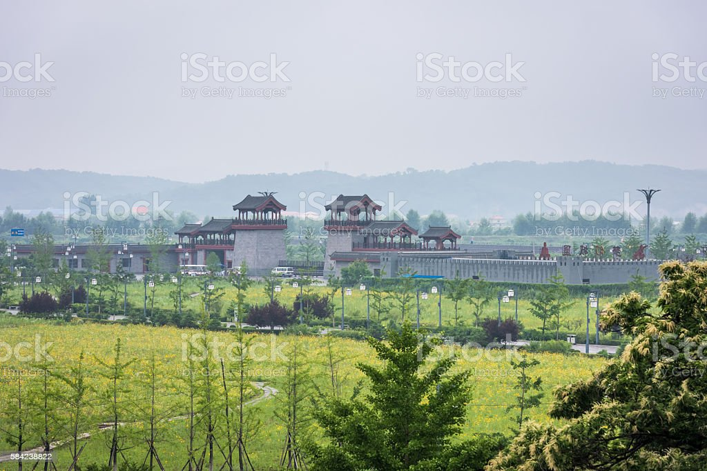 The Great Wall of China in Dandong stock photo