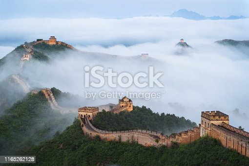 istock The Great Wall of Jinshan Mountains in the Cloud Sea 1165262128