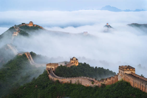 The Great Wall of Jinshan Mountains in the Cloud Sea stock photo