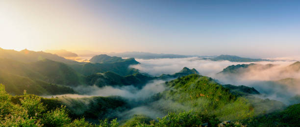 The Great Wall of Jinshanling in the Mist stock photo