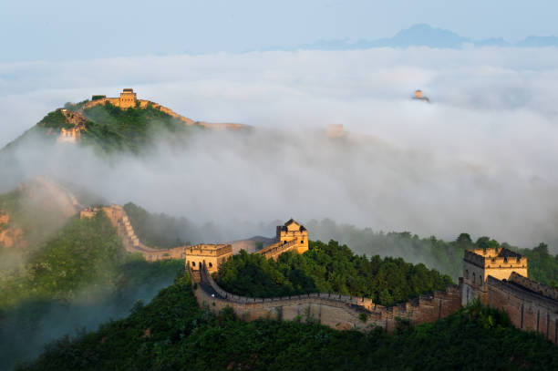 The Great Wall of Jinshanling in the morning mist stock photo