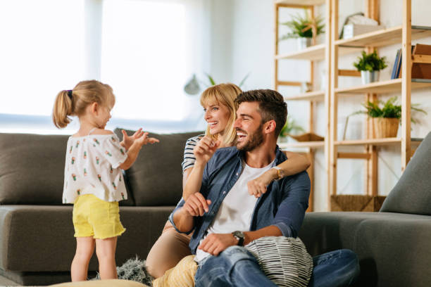 The greatest happiness is family happiness stock photo