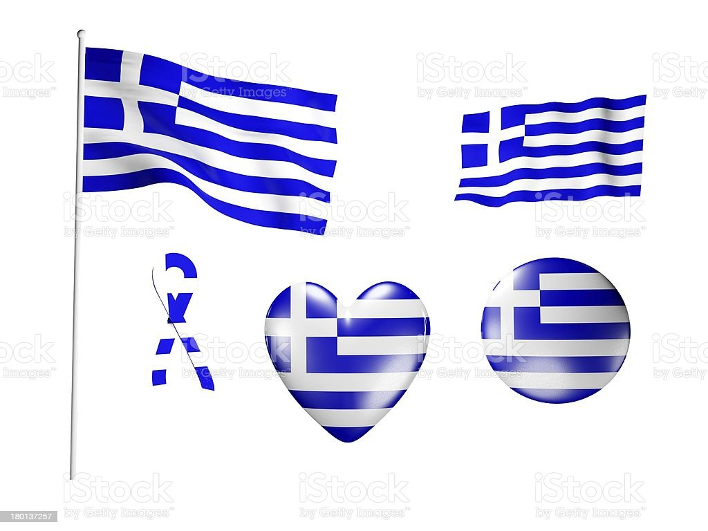 The Greece flag - set of icons and flags royalty-free stock photo