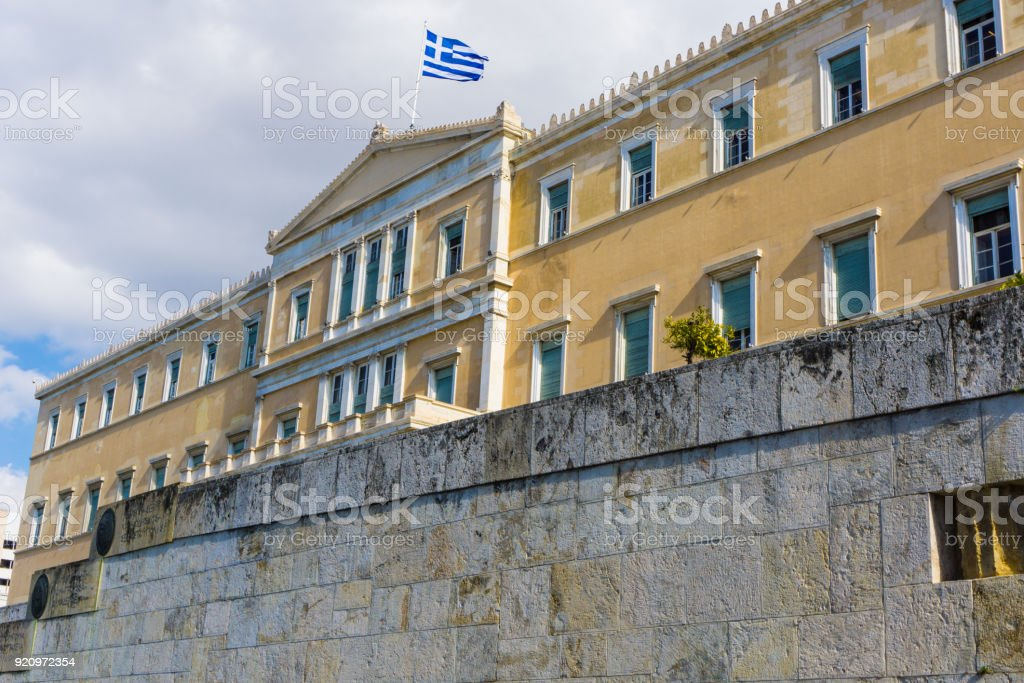 The greek parliament at Syntagma square in Athens Greece stock photo