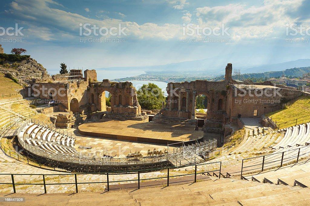 The Greek Theater & Mount Etna, Sicily, Italy stock photo