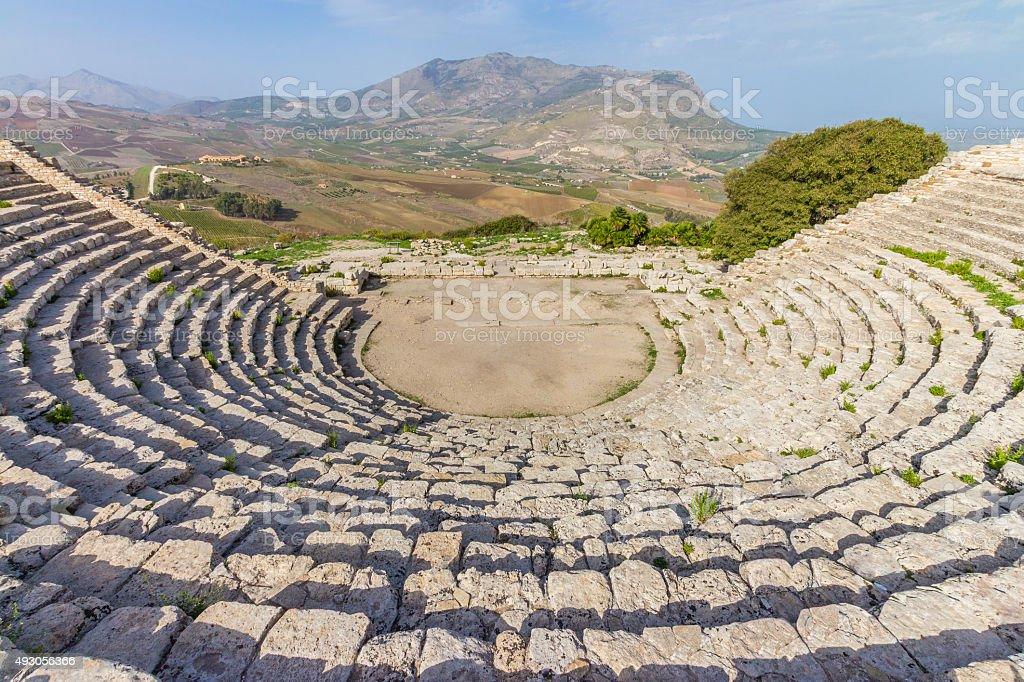 The Greek theatre of Segesta in Sicily Italy stock photo