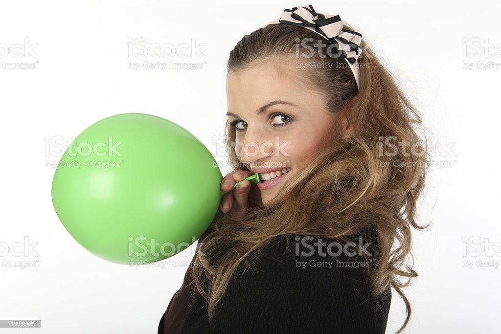 the green balloon royalty-free stock photo