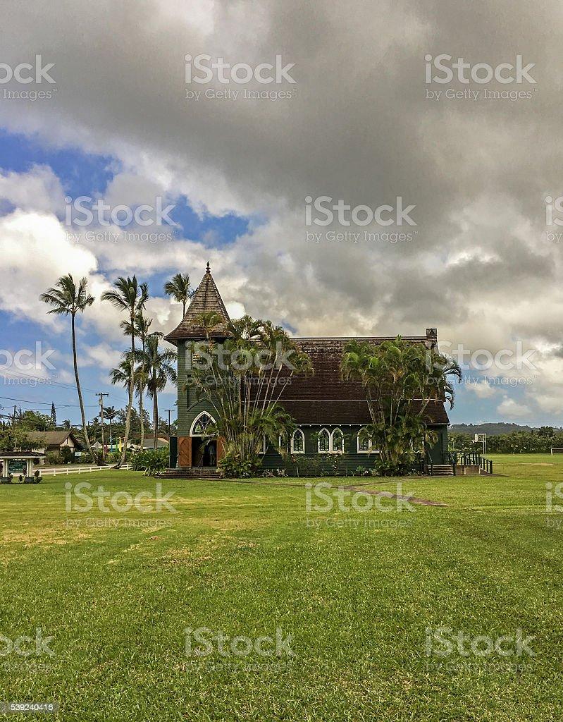 The Green church in Hanalei, on Kauai, Hawaii royalty-free stock photo