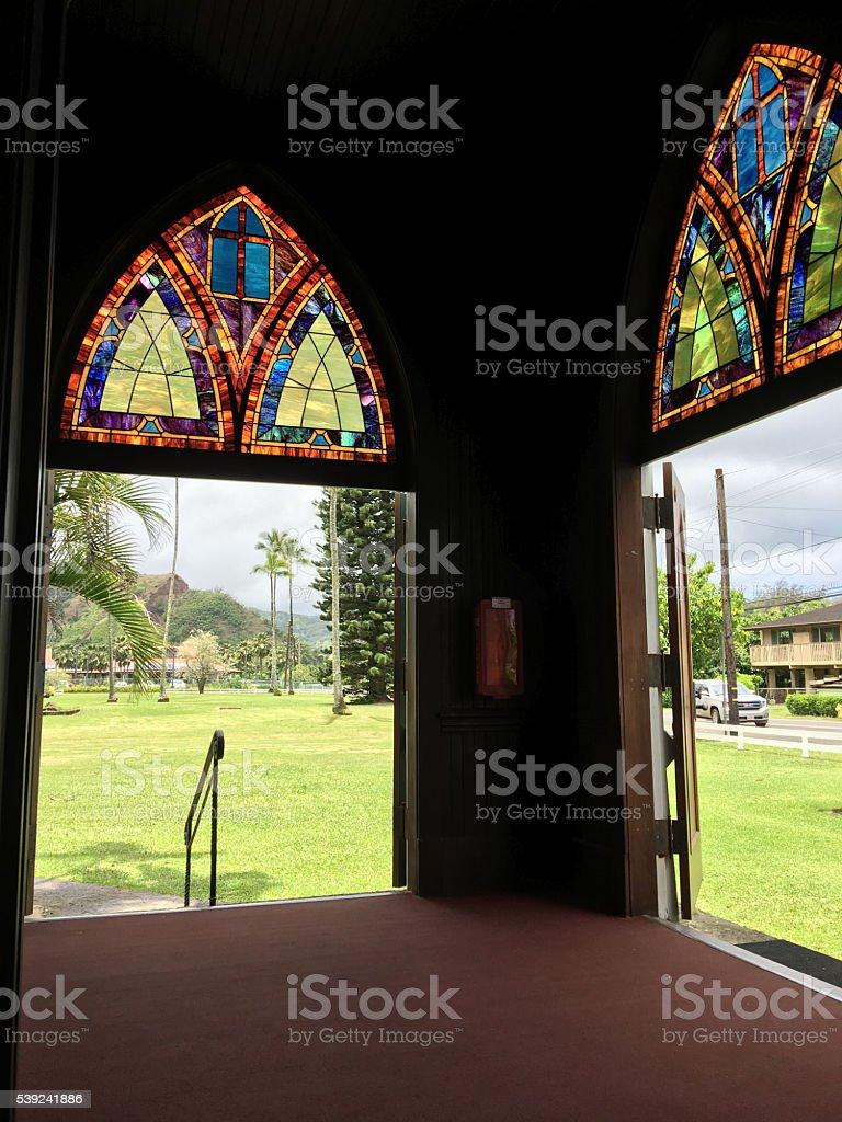 Iglesia en el Verde de Hanalei, en Kauai, Hawai foto de stock libre de derechos