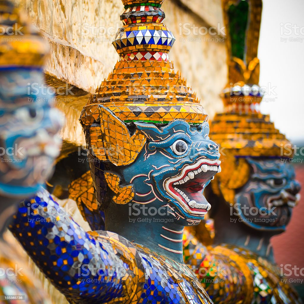 The Green Demon Guards at the Grand Palace in Bangkok royalty-free stock photo